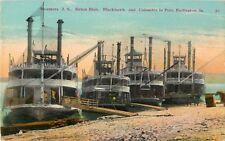 Steamers Helen Blair, Blackhawk, & Columbia In Port, Burlington, Iowa IA 1913