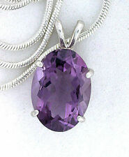 14x10 4.94 Carat Oval Rich Color Amethyst Gem Sterling Silver Pendant FREE CHAIN