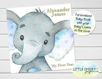 Elephant Baby Keepsake Journal, Blue Elephant First Year Baby Book, Five Years