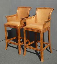 Pair Vintage Tiki Palm Beach Style Rattan & Brown Leather Bar Stools