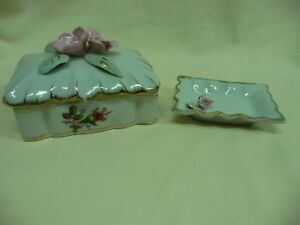 Vintage Royal Sealy Lidded Trinket Box & Tray Decorated Attached Pink Flowers