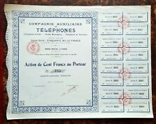 Paris I er - Très Rare Cie Auxiliaire des Téléphones - Téléphone Eclair de 1910