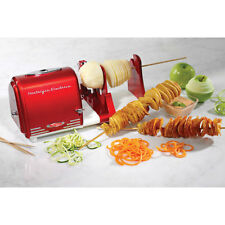 Electric Potato Twister & Peeler Shred Vegetable Fruit Spiral Slicer Cutter, Red