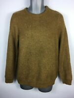 MENS M&S MUSTARD BROWN JUMPER LONG SLEEVE CREW NECK PULL OVER SWEATER SIZE SMALL