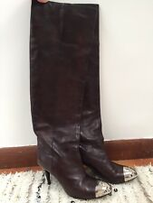 CHANEL Silver Metal Cap Toe CC Logo Over The Knee Boots Brown Distressed Sz 40