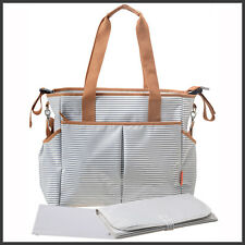 Large Designer Baby Changing Bag Nappy Diaper Bags Insulated - Grey Stripe