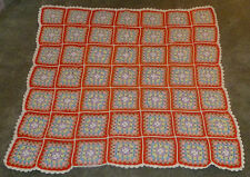 Multi-Color Square Pastel Granny Squares AFGHAN Handmade Knit Blanket Throw
