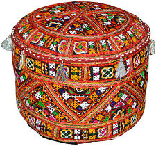 Indian Embroidered Pouf Ottoman Mirror Work Patchwork Pouffe Bean Bag Foot Stool