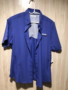 Columbia PFG woman's medium snap front shirt purple short sleeve