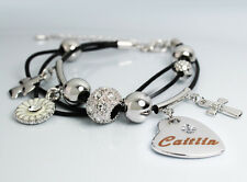 Genuine Braided Leather Charm Bracelet With Name - CAITLIN - Gifts for her