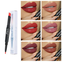 Double Head Waterproof Long Lasting Pencil Lipstick Pen Matte Lip Liner Makeup