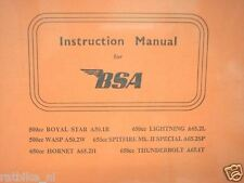 B0153 BSA---INSTRUCTION MANUAL MODEL A50 + A65 ROYAL STAR + WASP---+ HORNET + LI