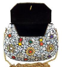 NK Fashion Woman Indian Handmade Shell Studded Metal Clutch Purse Sling bag