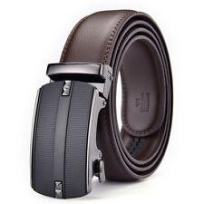 Mens Genuine Leather Belt Belts Real New Sliding Buckle Trouser Black Brown UK