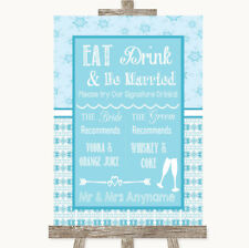 Wedding Sign Poster Print Winter Blue Signature Favourite Drinks