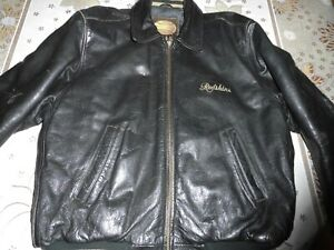 blouson en cuir vachette noir   REDSKINS taille L VINTAGE