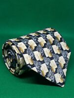 "Ermenegildo zegna silk neck tie gold silver 59"" × 3 3/4"" geometric made in italy"