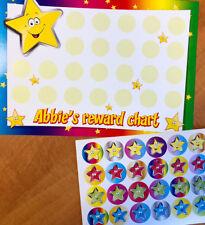 Personalised 'star' reward chart & 24 stickers - colourful design - any reward