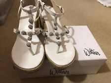 Ladies Wedge Sandals Shoes Wittner Size 40 White