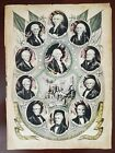 Presidents of the United States 1844 vintage 10x14 lithograph, Nathaniel Currier