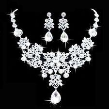 Fashion Wedding Jewelry Womens Choker Statement Bib Pearl Necklace Set Earrings