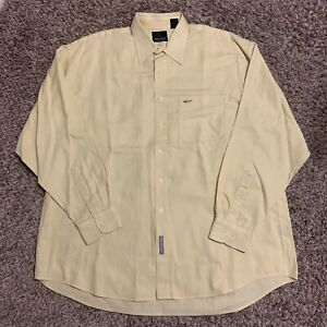 Vintage Greg Norman Yellow Long Sleeve Button Up Casual Shirt Size XL