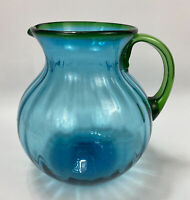 GORGEOUS Handmade Art Glass Bubble Bulb Pitcher w/ Bright Blue & Green
