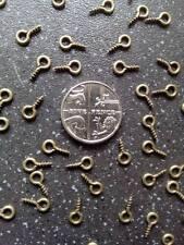 10 Small Tiny Mini Eye Pins Eyepins Hooks Eyelets Screw Threaded bronze 8mm UK