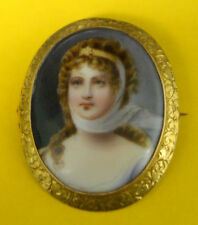 Victorian 10K Gold Setting Brooch Pin With Porcelain Portrait