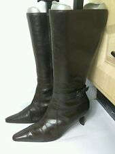 WALLIS WOMENS KNEE HIGH BROWN LEATHER BLOCK HEEL WINTER BOOTS SHOES SIZE UK 7 40