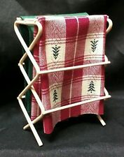 Dollhouse Miniature  cloths drying rack, laundry/sewing room w/ Christmas fabric
