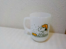 VINTAGE FIRE KING ANCHOR HOCKING SNOOPY MUG HATE IT WHEN IT SNOWS ON FRENCH TST