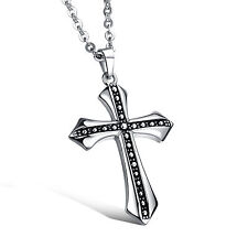Stainless Steel Pendant Necklace Gift Fashion Men's Jewelry Silver Black Cross