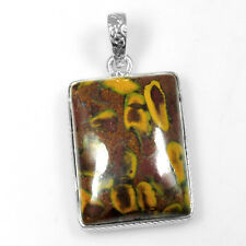 8.5 Gm 925 Sterling Silver Natural Fruit Jasper Hand Made Pendant Fine Jewelry $
