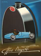 Original Vintage French Car Poster - Bugatti by Fix Masseau 1989