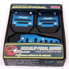 Universal PVC Racing Sport 3pcs Non-Slip Aluminum Manual Car Pedals Pad Blue EM