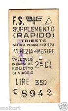 BIGLIETTO TICKET EDMONSON  TRIESTE  VENEZIA  MESTRE SUPPLE.. RAPIDO  16-5-1973