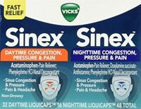 Pack of 2, Vicks Sinex Daytime/Nighttime Congestion Pressure/Pain - 48 LiquiCaps