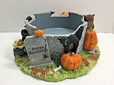 White Barn Candle Co Trick or Treat Happy Haunting Candle Holder B&BW