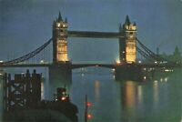Vintage London By Night Postcard, Tower Bridge & River Thames JM2