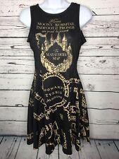 Harry Potter Marauders Map Dress Black Tan Sleeveless Stretch Hot Topic Size S