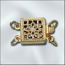2-Strand Square GOLD-FILLED Filigree Clasp - Beautiful!