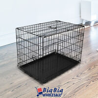 """24"""" [Small] Portable Folding Black Dog Crate Pet Cage Pen Kennel 2-Doors w/Tray"""