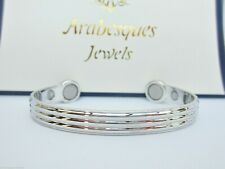 DELUXE HIGH STRENGTH BIO MAGNETIC BRACELET/COPPER BANGLE PAIN RELIEF SILVER AJMB
