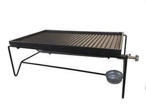 Barbecue a gas mini bistecchiera in ghisa fornello a gas 60x40 reversibile