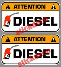 ATTENTION DIESEL GASOIL CARBURANT 8CM AUTOCOLLANT STICKERS X2 TRAPPE A ESSENCE