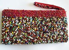 Bright Cheerful Colorful Heavily Glass Beaded Clutch Purse Bag