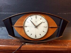 Vintage Midcentury Metamec Atomic Eye Mantel Clock,Modernist,Teak,Brass,Ebony