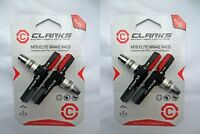 2 Pairs Genuine Clarks CPS301 Elite Bike V Brake Blocks - Triple Contour Design