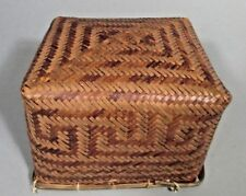 South America Amazon River Basin Peoples Greek Key Decor Woven Basket ca. 20th c